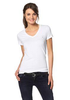 Produkttyp , T-Shirt, |Materialzusammensetzung , Obermaterial: 50% Polyester, 37% Baumwolle, 13% Viskose, |Pflegehinweise , Maschinenwäsche, |Stil , Sportlich, |Optik , Unifarben, |Farbe , Weiß, |Herstellerfarbbezeichnung , optic white heather, |Applikationen , Logodruck, |Ausschnitt , V-Ausschnitt, |Ärmelstil , Kurzarm, |Passform , Figurbetonend, |Produktlänge , Hüftumspielend, |Vorderlänge , ...
