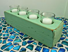 Turquoise Wood Candle Holder, Holder for 4 votive candles, Turquoise candle holder, made from upcycled pallet wood, Candle Centerpiece