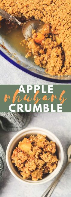 Apple and Rhubarb Crumble - A deliciously sweet and perfectly spiced apple and rhubarb filling that is topped with a generous amount of buttery crumble. This Apple and Rhubarb Crumble makes a perfect winter dessert served warm with custard or ice cream! Rhubarb And Apple Crumble, Vegan Crumble, Crumble Recipe, Apple Recipes, Fall Recipes, Rhubarb Recipes, Carrot Cake Bars, Pumpkin Roll Cake, Oven Dishes