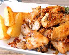 Pollo de corral al ajillo con patatas churreras