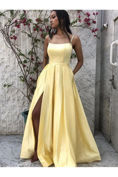 yellow satin long prom dress, yellow formal dress,halter party dresses with split Dresses Elegant, Pretty Prom Dresses, Simple Prom Dress, Prom Party Dresses, Sexy Dresses, Fashion Dresses, Dress Party, Long Prom Dresses, Winter Prom Dresses