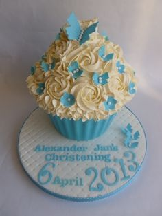 Christening giant cupcake