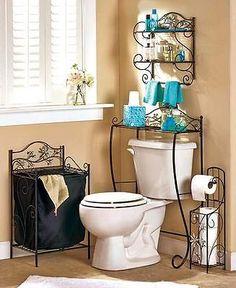 Jeweled Flower Bathroom Decor Black Scrolled Bathroom Hamper Towel Shelf Storage