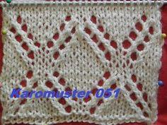 Karomuster Ajourmuster 051*Stricken lernen*Muster für Pullover*Mütze*Tutorial…