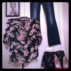 Black sheer blouse with floral design Black sheer blouse with floral design. Never been worn, washed only. Very cute sheer black with pink Flores and green leaves. Size m roll tab sleeves. Thanks for looking! No Boundaries Tops Blouses