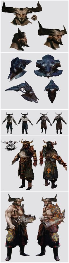 Really love these - glad some of them didn't make it tho! Iron Bull concept art in The Art of Dragon Age: Inquisition