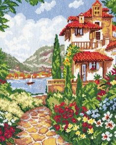 Cross stitch kit Villa by the sea - Chudo Igla (Magic Needle) > Chudo Igla (Magic Needle) > Cross stitch kits > The Stitch Company Cross Stitch House, Cross Stitch Tree, Counted Cross Stitch Kits, Cross Stitch Flowers, Cross Stitching, Cross Stitch Embroidery, Cross Stitch Patterns, Scenery Pictures, Pictures To Draw