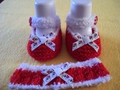 1 Set 'Christmas' Hand Knitted Baby Shoes/Booties by Tootsietastic, $10.25