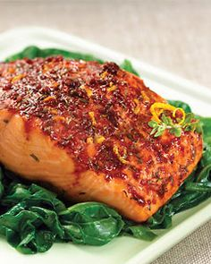 Recipes from The Nest - Smoked Paprika Roasted Salmon with Wilted Spinach