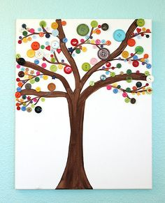Mommy can assist in this cute canvas button art project or let kids take total control.  Source: Simply Designing