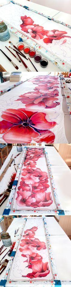 Process of painting the #poppy silk #scarf by #minkulul Silk painting by Luiza #malinowska