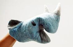 Rhino felted hand puppet by petitacosa on Etsy.  (nice texture)