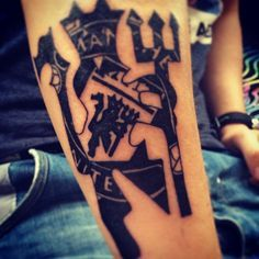 manchester united devil tattoo - Google Search Man Utd Tattoo, Devil Tattoo, Lion Tattoo, Football Tattoo, Arm Tats, Gifts For Photographers, Square Photos, Flash Photography, Custom Tattoo