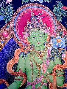 Green Tara is an archetype of our own inner wisdom. She guides and protects us as we navigate the depths of our unconscious minds, helping us to transform consciousness, our own personal journeys of freedom. It is the goddess Tara who helps us to remain Art Buddha, Buddha Kunst, Goddess Art, Tara Goddess, Sacred Feminine, Tantra, Gods And Goddesses, Archetypes, Third Eye