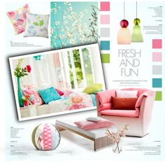 Fresh and Fun by nyrvelli on Polyvore featuring interior, interiors, interior design, home, home decor, interior decorating, Jiti, Trina Turk LA, MOROSO and Spring