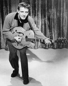 """Eddie Cochran, one of the very first guitar heroes. He helped to make Gretsch guitars a """"go to"""" instrument for players of just about any genre. Nobody did """"cool"""" like Eddie Cochran. Rock Roll, 50s Rock And Roll, Rock N Roll Music, 60s Rock, Elvis Presley, Beatles, Eddie Cochran, Billy Holiday, Rockabilly Rebel"""