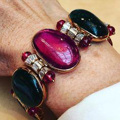 Bulgari - Cabochon emerald, spinel and diamond bracelet - https://www.instagram.com/p/BEOom4nLnqg/