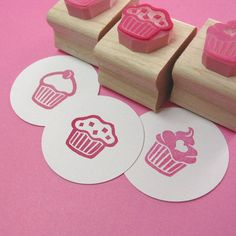 Mini Cupcake Hand Carved Rubber Stamp