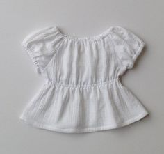 fa2f089c1c5 Double gauze short sleeve peasant top    white cotton double gauze    size  1T