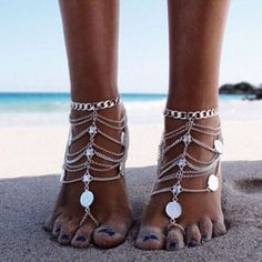 Victray Boho Multilayered Anklets Sequins Ankle Bracelets Summer Barefoot Beach Anklet Foot Chains Fashion Foot Jewelry for Women and Girls Body Chain Jewelry, Anklet Jewelry, Anklet Bracelet, Coin Jewelry, Jewelry Bracelets, Foot Bracelet, Bikini Jewelry, Beach Jewelry, Punk Jewelry