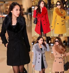 NEW Women's Cashmere Blend Fur Collar Jacket Double-breasted Long Trench Coat
