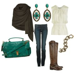 wrap shawl + dressy top + knee high boots + skinny jeans + bag