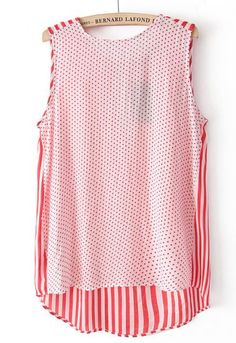 Red Sleeveless Polka Dot Vertical Stripe Vest pictures