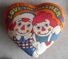 Vintage 1970 Raggedy Ann and Andy Heart Shaped Pillow