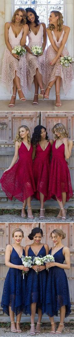 chic deep v-neck short lace bridesmaid dresses, boho fashion gowns, lace wedding party gowns. #bridesmaiddresses
