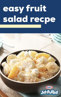 Easy Fruit Salad Recipe – Ready for a tangy, creamy fruit salad? Combine bananas, oranges, mini marshmallows, and coconut to create a fun new dish for your spring potluck! Creamy Fruit Salads, Fruit Salad Recipes, Egg Recipes, Soup Recipes, Chicken Recipes, Cooking Recipes, High Fiber Vegetables, High Fiber Fruits, Fruits With Low Sugar