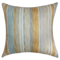 """Cotton pillow with a feather-down fill and multicolor stripe motif. Made in Boston, Massachusetts.  Product: PillowConstruction Material: Cotton cover and down fillColor: Natural, gray, and aquaFeatures:  Made in the USAInsert included  Note: 18"""" x 18""""Cleaning and Care: Spot clean recommended"""