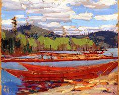 Bateaux Tom Thomson - Canadian Group of Seven Emily Carr, Canada Landscape, Landscape Art, Landscape Paintings, Canadian Painters, Canadian Artists, Group Of Seven Art, Tom Thomson Paintings, Art Nouveau