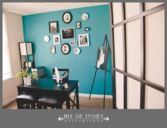 Now presenting. the Big Ole Teal Wall. (they did a nice job) Teal Office, Black Office, Photography Office, Teal Walls, Color Palate, My Dream Home, Home Office, Living Spaces, Sweet Home