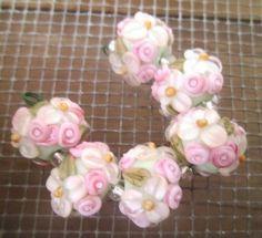 floral lampwork beads