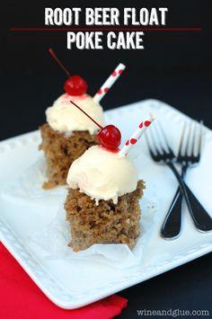 Root Beer Float Poke Cake on MyRecipeMagic.com