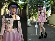 Polly The Label Pastel Pvc Skirt, Mimco Frilly Umbrella, Honey Birdette White Hold Ups, Black Friday Pastel Jacket Diy, Black Tee, Unif Salem Boots, Bowler, Thelittlepinkkitten Choker