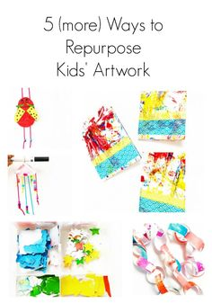 Does the kiddy artwork pile up at yours? Here are 5 ways to repurpose kids' art. Creative Activities For Kids, Kids Learning Activities, Art Activities, Painting For Kids, Art For Kids, Crafts For Kids, Kids Diy, Kids Artwork, Cardboard Crafts