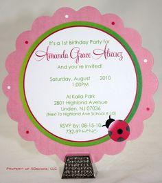Ladybug Flower Shape Birthday Invitations