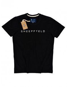"Camiseta Gola ""O"" Preta Bordado SheepFyeld"