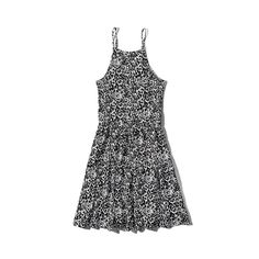 Abercrombie & Fitch Patterned Swing Dress ($26) ❤ liked on Polyvore featuring dresses, black and white pattern, draped dress, high neck dress, black and white skater dress, strappy dress and print skater dress