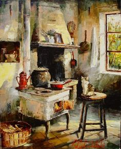 by Gleb Goloubetski Art Watercolor, Art Et Illustration, Inspiration Art, Still Life Art, Russian Art, Kitchen Art, Beautiful Paintings, Oeuvre D'art, Lovers Art