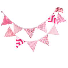 12 Flags 3.3m Cute Cotton Fabric Banners Personality Wedding Bunting Flags Pink Vintage Party Baby Show Garland Decoration