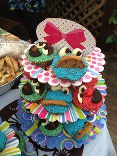 Cookie, Elmo and Oscar cupcakes