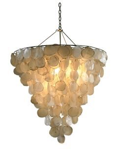Natural Capiz Shells; Includes Canopy & 3-Foot Chain *Four Bulbs Not to Exceed 40W