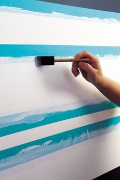 Maybe this will help my stripes turn out better! How to paint perfect stripes - put a coat of base color on the tape to seal the gaps. Prevents bleed of the stripe color. Painting Stripes On Walls, Paint Stripes, Wall Stripes, Paint Walls, Color Stripes, Painting Tips, House Painting, Painting Art, Paint Line