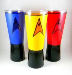 Hand Painted Star Trek Beer Glasses