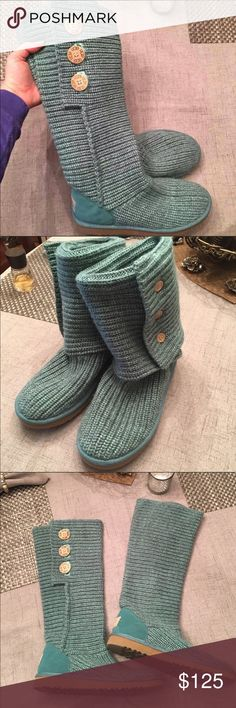 Ugg Sweater Boots New Size 8 bought for St Pattys Day but it was too warm. Color is shown accurately it's almost a teal. Never worn. No flaws. Can be worn up or folded down. Pretty firm on price, these were hard to track down. Reposted- I won't sell expensive items to buyers with no feedback, sorry too many scammers.   Clean, non smoking home.   Bundle & save!!  Lots of Victoria Secret, Pink, Nike, Under Armour, Lululemon, Patagonia, Miss Me, and other Buckle items to list. Follow me to…