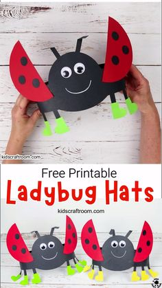 Isn't this Ladybug Hat Craft adorable? These ladybug headbands are really easy to make with the free printable ladybug craft template. Such a fun Summer insect craft for kids. Summer Crafts For Toddlers, Mothers Day Crafts For Kids, Animal Crafts For Kids, Paper Crafts For Kids, Easy Crafts For Kids, Craft Activities For Kids, Toddler Crafts, Hats For Kids, Toddler Art Projects