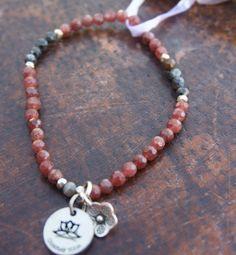 Calm Connect boho chic lepidorocrocite sterling silver yoga stretch gemstone beaded bracelet by ChakrasYoga on Etsy