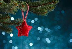 Christmas decoration on blue background - Christmas decoration on blue background